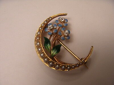 Victorian Estate 14K Yellow Gold Moon Seed Pearl Enamel Diamond Brooch Pin