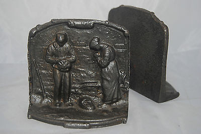 Vintage Farm theme pair of cast iron bookends