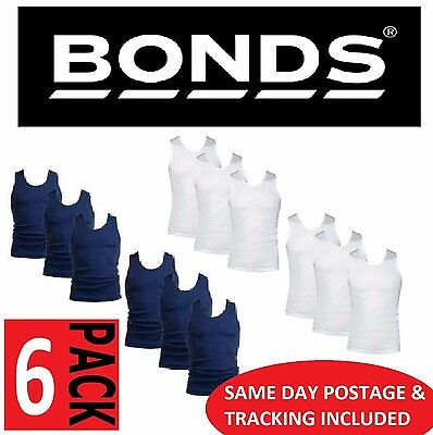Bonds 6 Pack Singlets Chesty Blue White Singlet Work Mens Trade S M L Xl 2Xl 3Xl
