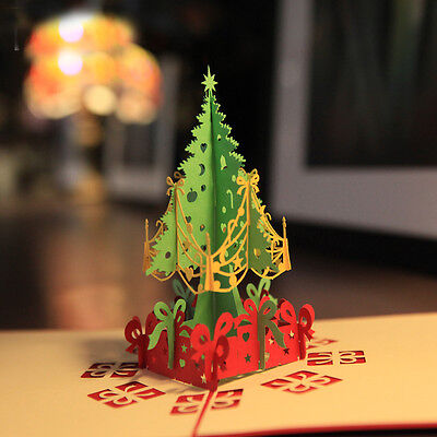 10pc Christmas Handmade 3d Pop up Greeting Card- Christmas Tree Postcard