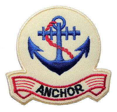 Cute Pretty Beautiful Blue Anchor Logo Embroidered Iron on Patch Free Shipping