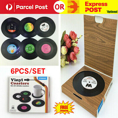 set of 6pcs Vintage Record Coaster Bottle Drink Cup Mat Bar Club Party gifts box