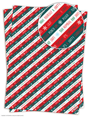 Brainbox Candy Christmas Xmas wrapping paper gift wrap 2 sheets funny rude joke