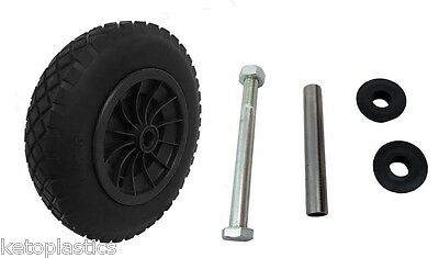 """PU 16"""" Puncture Proof BLACK Wheelbarrow Wheel Tyre 4.80-8 COMES WITH AXLE SET"""