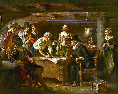 The Mayflower Compact US History Religious Pilgrims Painting Real Canvas Print