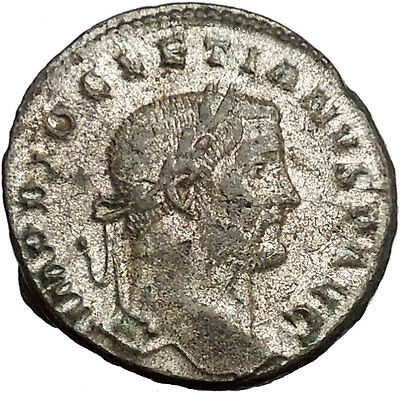 DIOCLETIAN 296AD Large Silvered Ancient Roman Coin Nude Genius Wealth   i52945