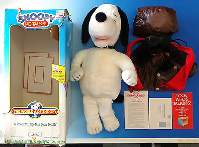 Talking Animated Snoopy Toy WOW w/ Box 1986 Peanuts Battery-Op Worlds of Wonder