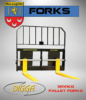 Digga Pallet Forks 1200kg Forklift Attachment Bobcat Skid Steer Mini Loader