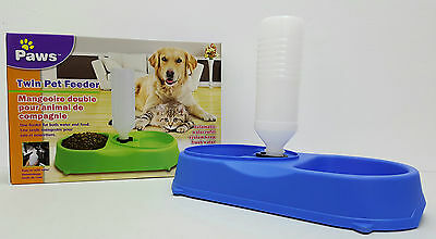Cat Dog Food Feeder Bowl Dish Automatic Water Dispenser Pet Feeding Station Blue