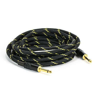 "15FT 6.35mm 1/4"" Guitar AMP Instrument Patch JACK Male Lead Cable Cord Nylon"