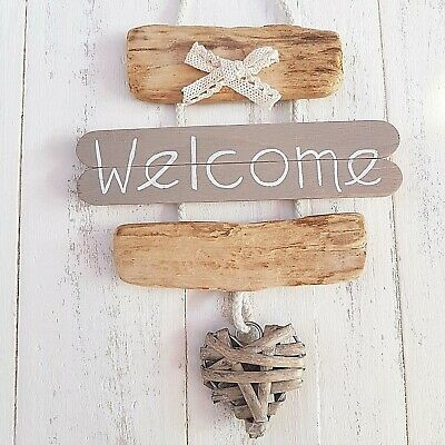 Chic Shabby Nautical Beach Driftwood Wooden Welcome Wicker Heart Plaque Sign