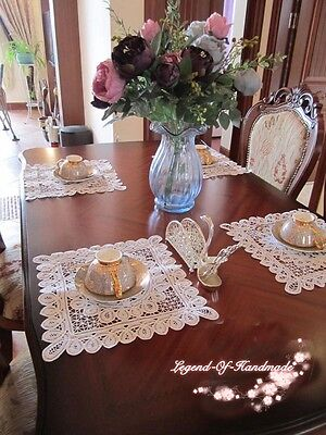 "12Pcs Handmade Full Battenburg Lace Placemat/Doily~12"" Square~Victorian~Wedding~"