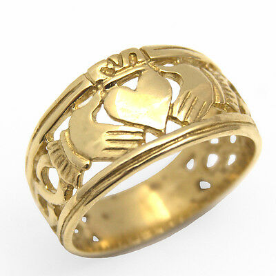 Claddagh Ring Full Band 9ct Gold UK Hallmarked