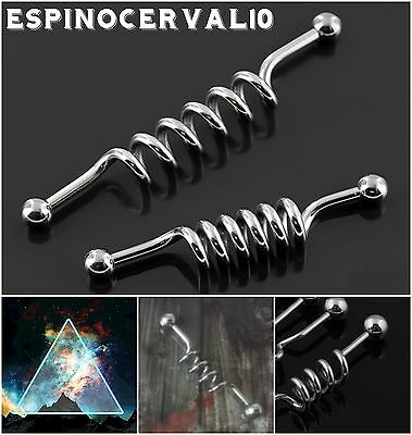 Piercing Double Spiral Industrial barbell Acero quirúrgico 38mm/1,6mm Steel