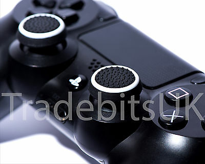 2 X Black / White Silicone Thumb Stick Grip Cover Cap Sony PS4 Analog Controller