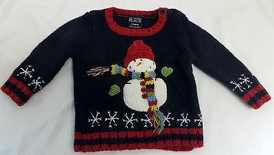 The Children's Place Snowman Christmas Sweater Baby Size 6-9 Months