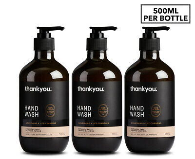 3 x Thankyou. Hand Wash Orange & Almond 500mL