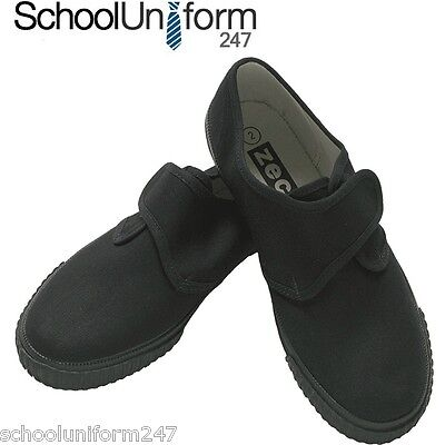 Boys Girls Kids Adult School PE Sports Gym Velcro Plimsoles Plimsolls in Black