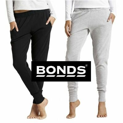Bonds Black Grey Womens Basic Cuff Trackie Trackies Track Pants Size Xs S M L Xl