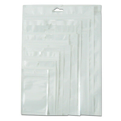 White Clear Zip Lock Hang Hole Plastic Bags Packaging Pouches Reclosable Jewelry