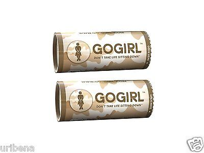 Go Girl Female Urination Device Woman Urinal Case Stand Up & Pee 2 Pack - Khaki