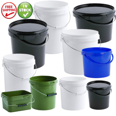 Plastic Buckets Containers Tubs Pails Complete With Lids Multiple Sizes & Colour