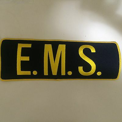 "E.M.S. Back Patch Gold Letters on Black Background 4""X11"""