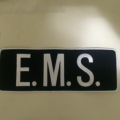 "E.M.S. Back Patch White Letters on Navy Background 4""X11"""