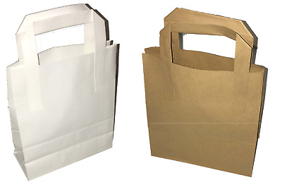 All Sizes White or Brown Kraft Paper SOS Takeaway Carrier Bags with Flat Handles
