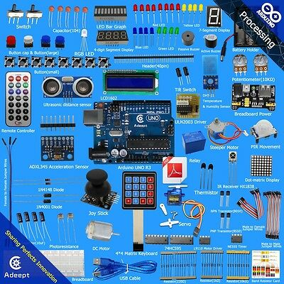 Adeept Ultimate UNO R3 Starter Kit for Arduino LCD1602 Servo Relay processing