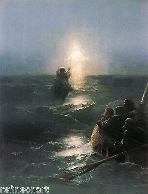 "Ivan Aivazovsky Christ Walking on the water Handmade Oil Painting repro 36""x48"""