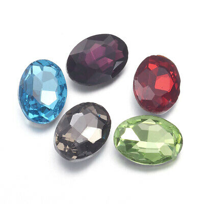 10pcs Faceted Oval Glass Pointed Back Rhinestone Cabochon Back Plated Colorful