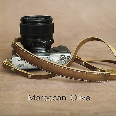 "1901 ""Steichen"" CUSTOM LENGTH Leather Camera Strap - Moroccan Olive"