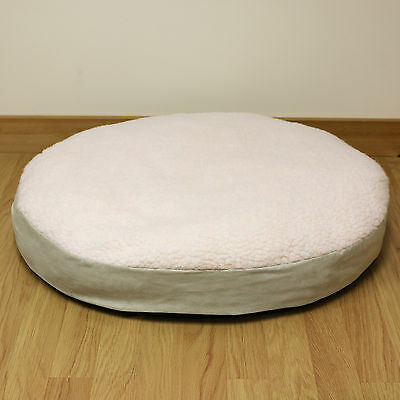Medium Circular Fleece Pet Dog Bed/Puppy/Cat/Round/Cushion/Pillow/Soft/Cosy 66cm