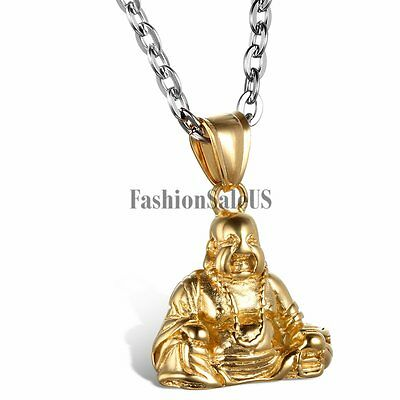 Mens Classical Gold Stainless Steel Buddhism Buddha Lucky Pendant Necklace Chain