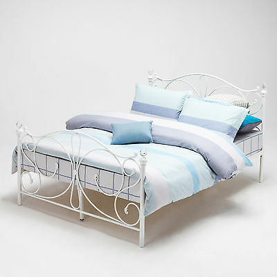 Small Double Size White Metal Bed Frame, Bedstead Cry Finials 4FT