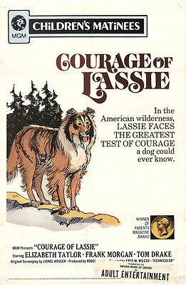 Courage of Lassie 1972 Original Movie Poster Elizabeth Taylor Adventure Drama