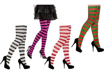 Stripe Stripey Tights Elf Miss Santa Red Green White Neon Purple Black Halloween