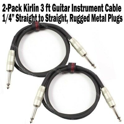 2-Pack Kirlin 3 ft Patch Cable Electric Cord Guitar Instrument +Free Cable Tie