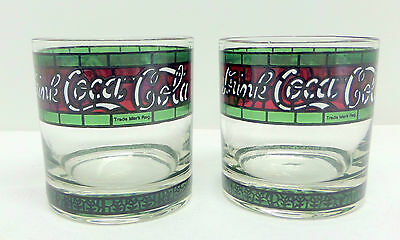 Coca Cola Stained Glass Tumblers Set of 2