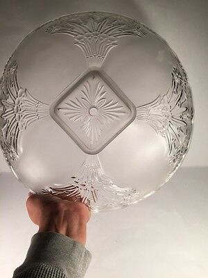 LOOK!  Art Deco Victorian Vintage Glass Shade Semi Flush Bouquet ! SQUARE