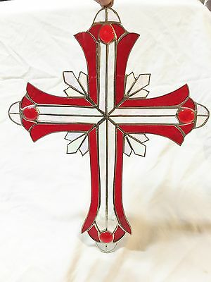 LARGE 13 INCH STAINED GLASS RED CRUCIFIX !! Stunning!  Iridescent HANDMADE !