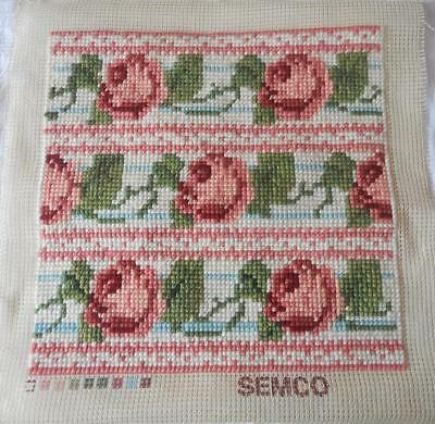 Vintage Completed Semco Tapestry Rows Pink Roses Suit Cushion Tote Craft Etc