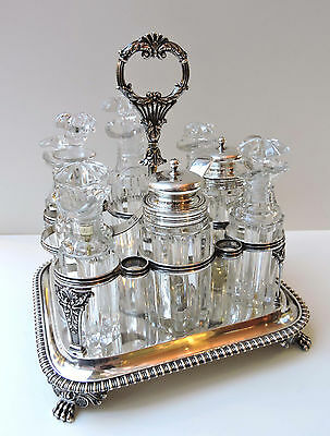 LARGE GEORGIAN Sterling Silver 8 bottle CRUET SET - London 1828 WM. Easterbrook