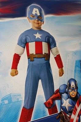 Boys Captain America Toddler Infant Halloween Muscle Chest Costume 1 2 4 2T NEW