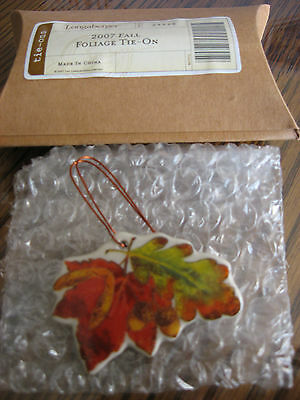 NEW Longaberger 2007 Fall Foliage Pottery Tie On w/Original Box 4 Your Basket!