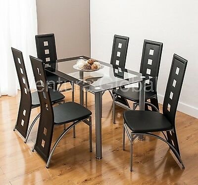 Glass Dining Room Table Set and 4 or 6 Faux Leather Chairs Square Back