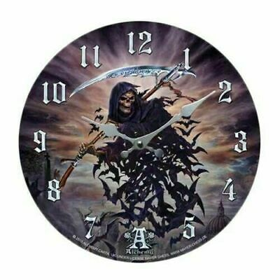 "Tithe To Hell Grim Reaper Wall Clock By Alchemy Gothic Round Plate 13.5""D Decor"