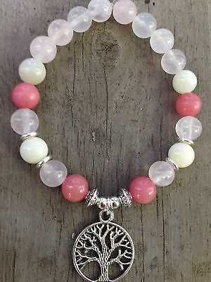 ॐ Crystal Blissॐ Fertility IVF Reiki  Bracelet Rose Quartz/Moonstone Tree Life