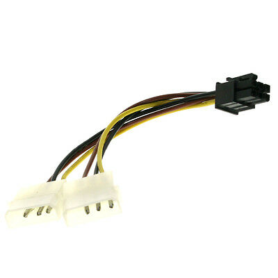 4 pin Molex to 6 pin PCI Express Video Card Graphic Card Power Adapter Cable oz